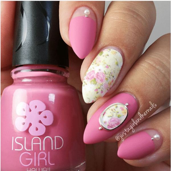 shabby floral cute pink nails bmodish