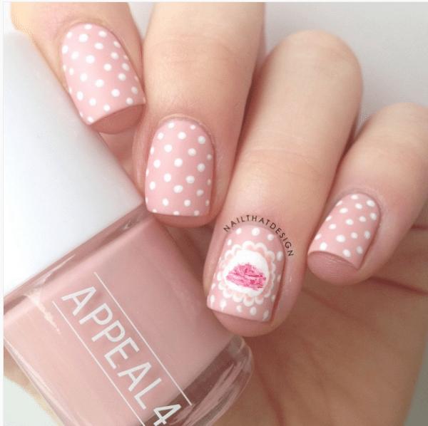 shabby pink polka dot nail art bmodish