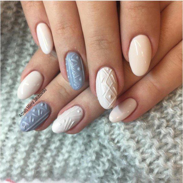 simple cute sweater nail art bmodish