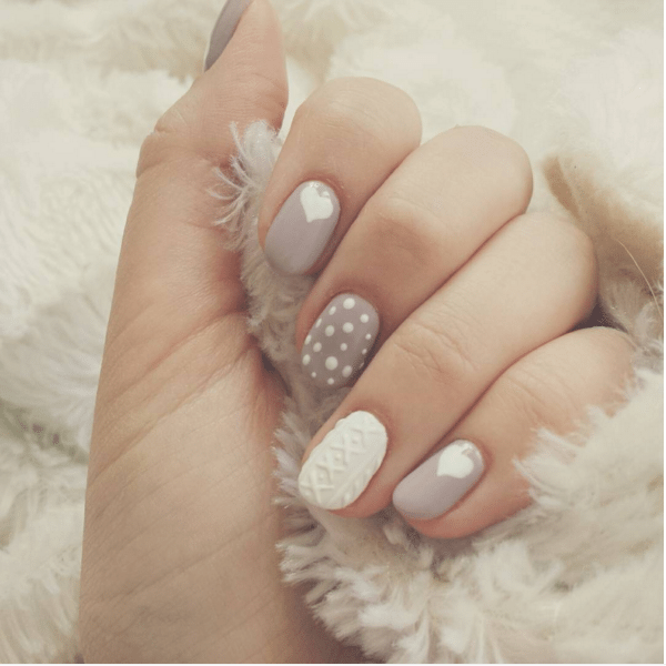 soft taupe knit sweater nails bmodish