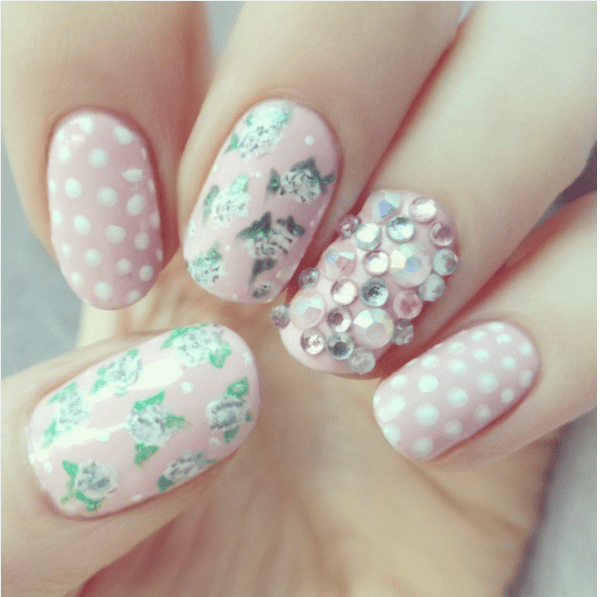 33 cute pink nail designs you must see be modish spring vintage light pink nail art bmodish prinsesfo Gallery