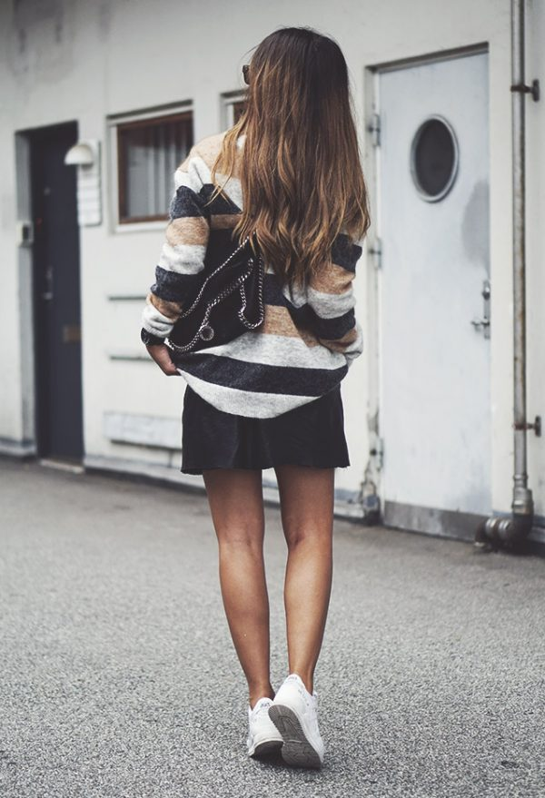 striped-inwear-sweater-with mini skirt outfit bmodish