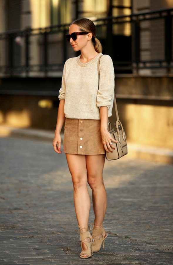 sweater with suede button skirt outfit bmodish