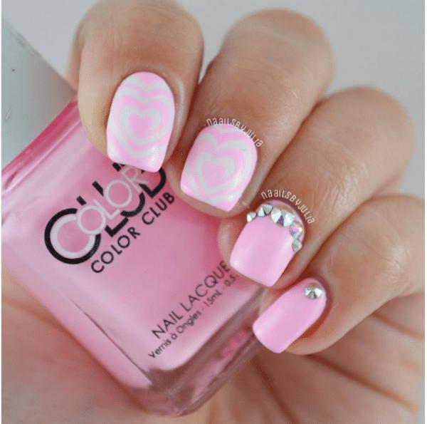 swirly heart soft pink mani bmodish