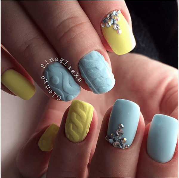 yellow and light blue knit nail design bmodish