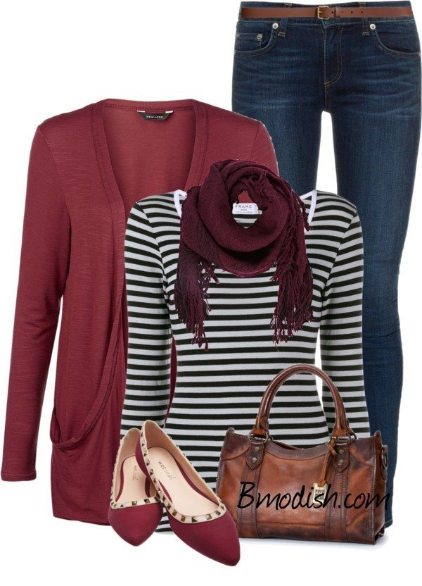 Burgundy cardigan polyvore spring outfit 2016 bmodish