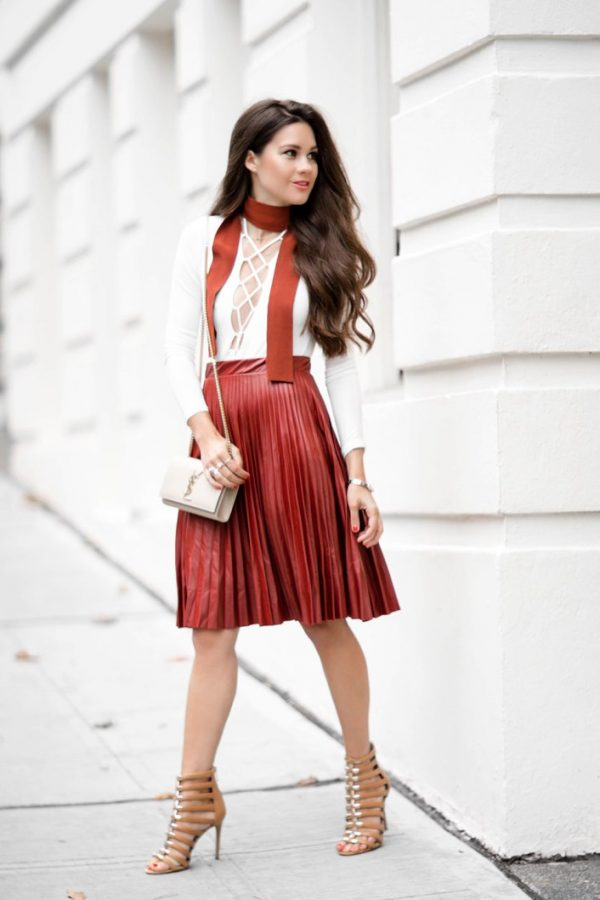 Pleated Faux Leather Skirt outfit bmodish