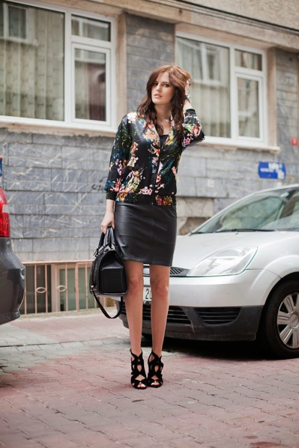floral bomber jacket with skirt