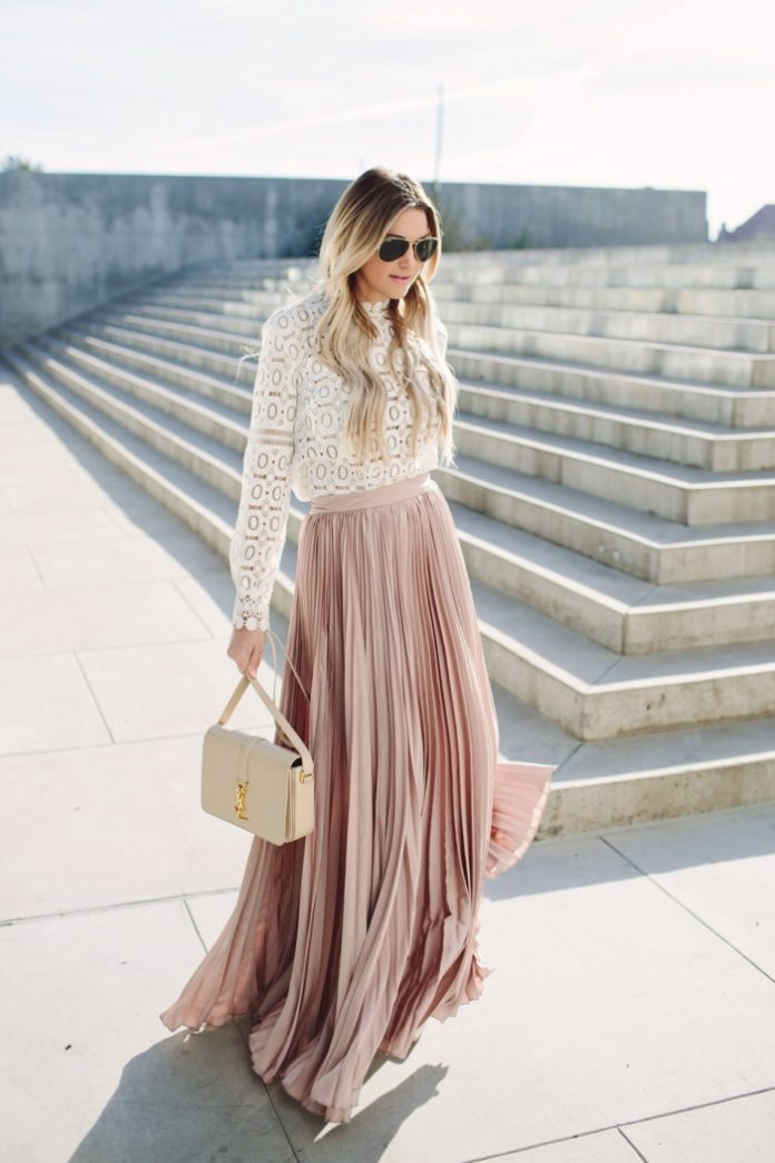 blush pink maxi pleated skirt outfit