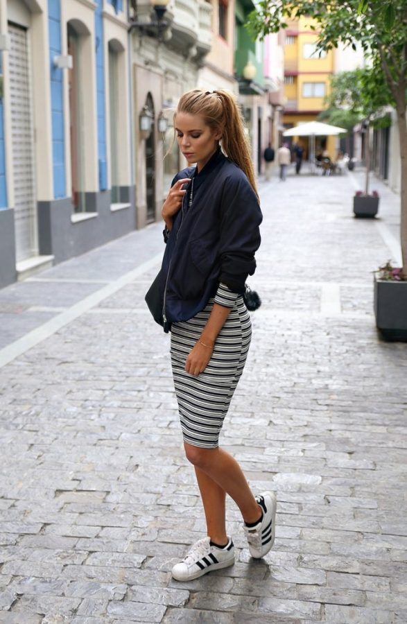 how to wear bomber jacket with bodycon dress