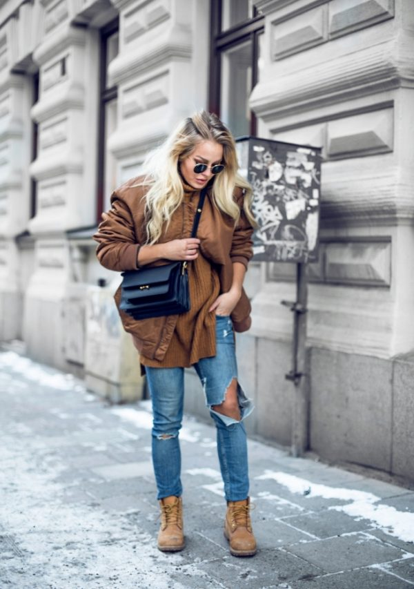 brown bomber jacket outfit