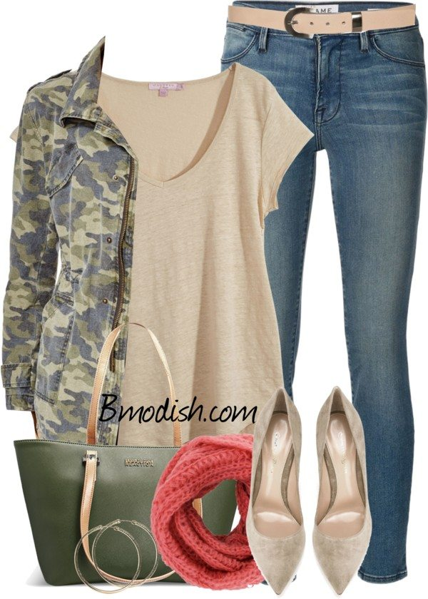 camo jacket outfit for spring bmodish