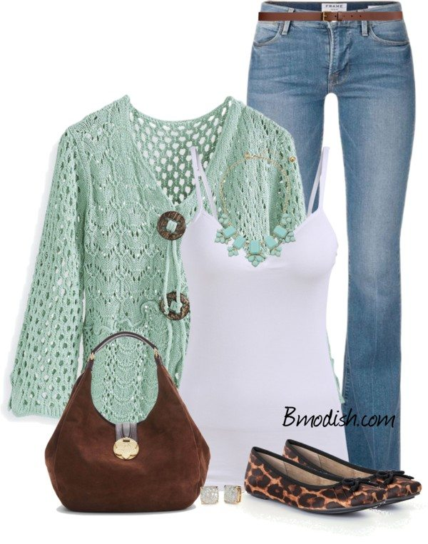 casual stitch cardigan polyvore spring outfit bmodish
