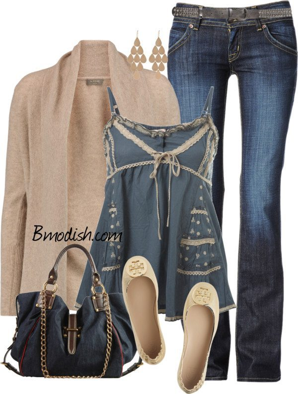 cute trim cami top with cardigan spring outfit polyvore bmodish