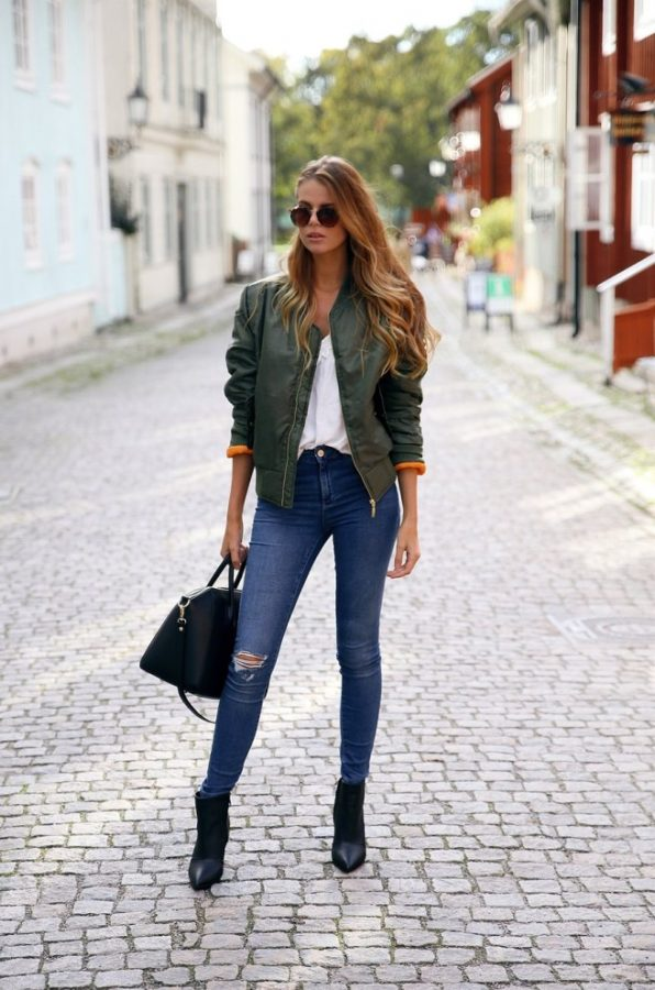 how to wear green bomber jacket