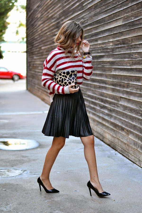 how to wear black mini pleated skirt outfit bmodish