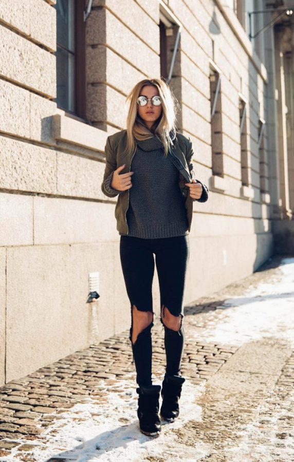 khaki bomber jacket with wedge sneakers outfit bmodish
