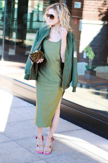 bomber jacket with maxi dress outfit