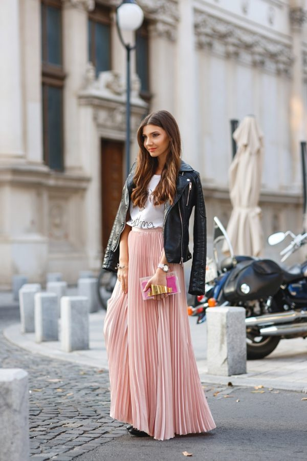 maxi pink pleated skirt with biker jacket bmodish