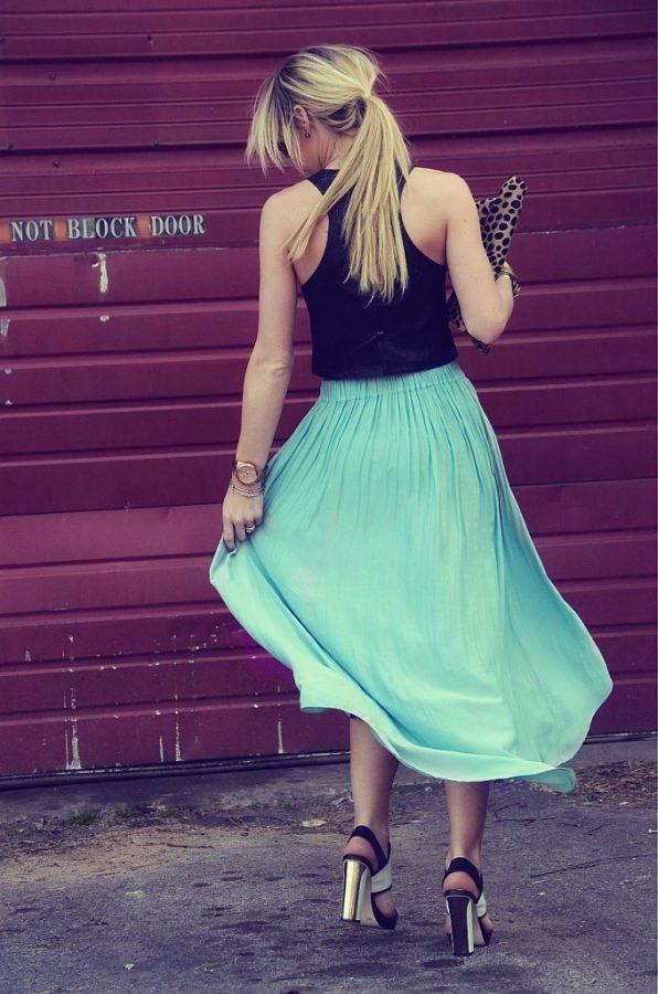 midi pleat skirt summer outfit bmodish