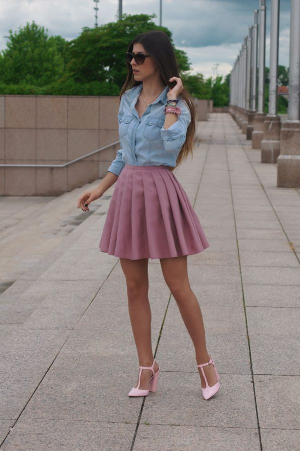 mini pleated skirt with chambray bmodish