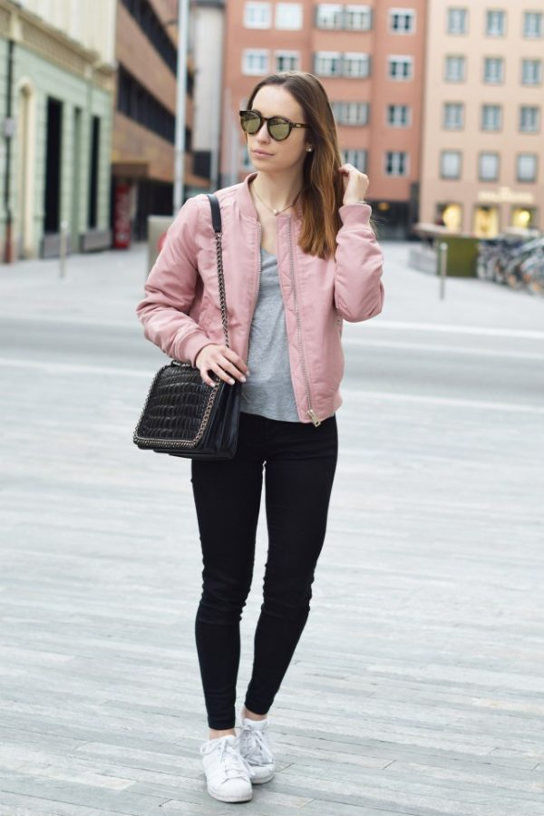 how to wear pink bomber jacket