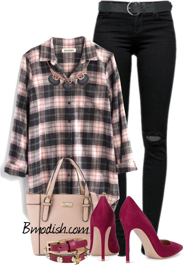 plaid tunic sexy spring outfit polyvore bmodish