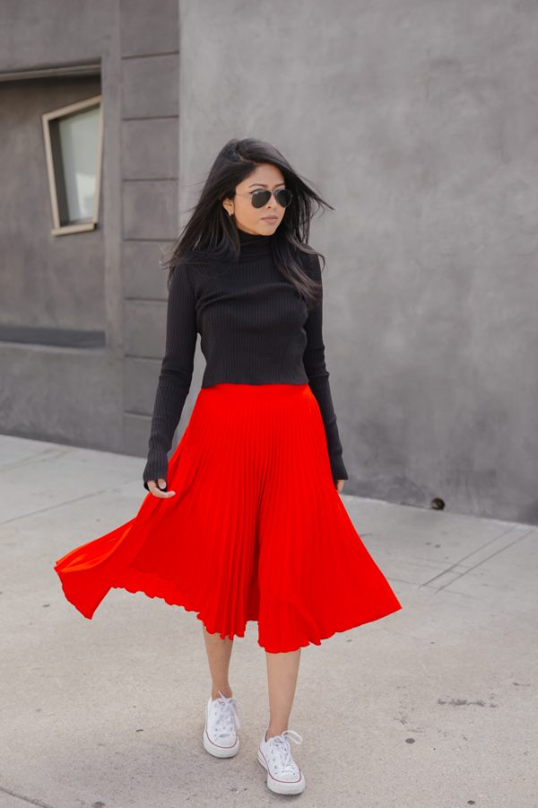 pleated skirts with converse outfit bmodish
