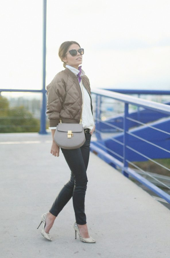 stylish bomber jacket with skinny jeans and heels bmodish