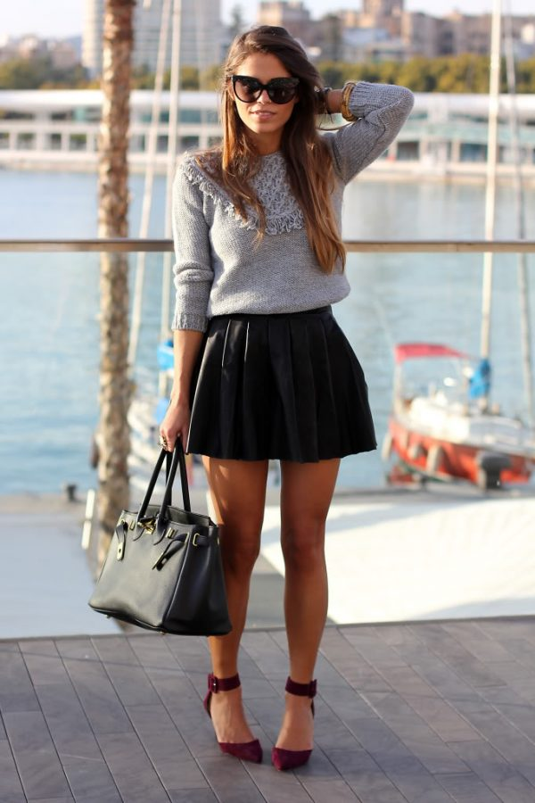 sweater with mini black pleated skirt outfit bmodish