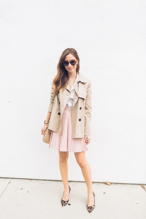 trench coat with pink pleated skirt spring outfit bmodish