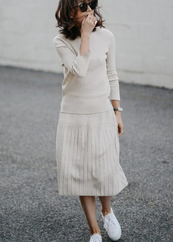 white midi pleated skirt spring casual outfit bmodish
