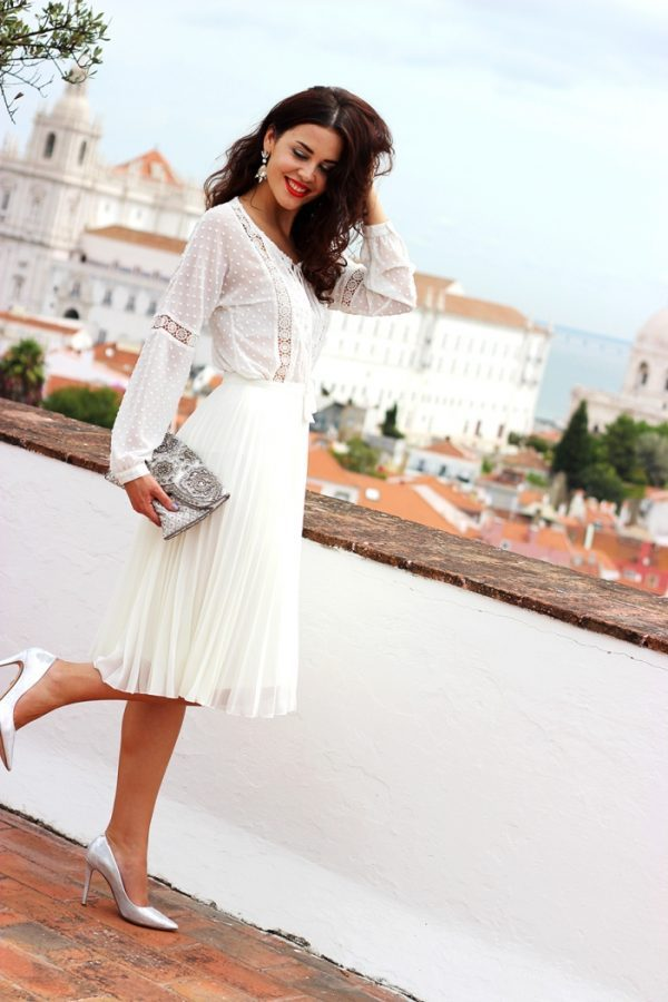 white on white midi pleated skirt outfit bmodish