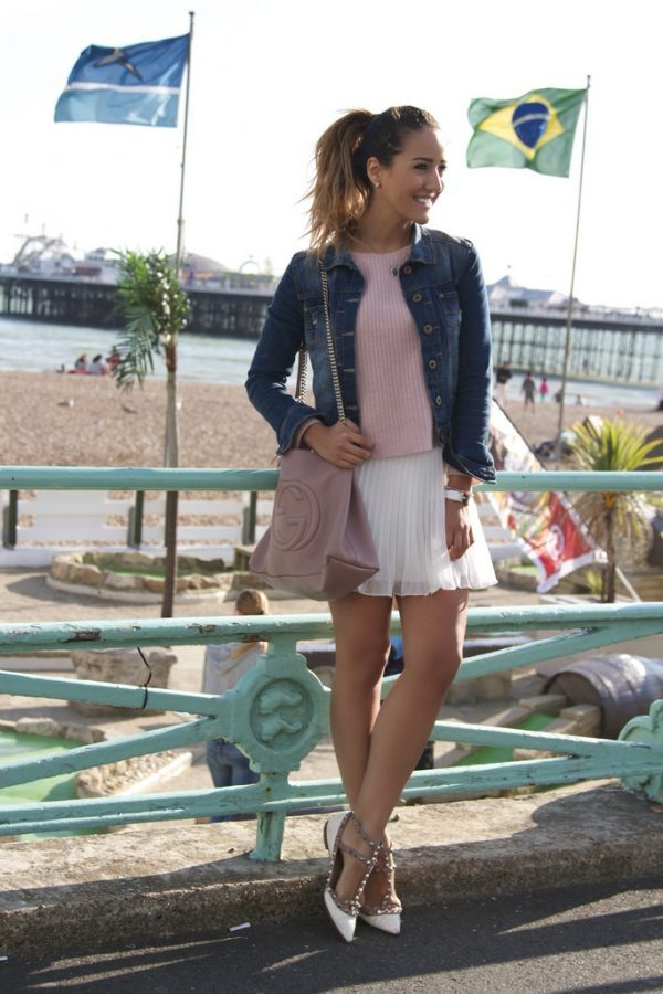 white short pleated skirts outfit idea bmodish