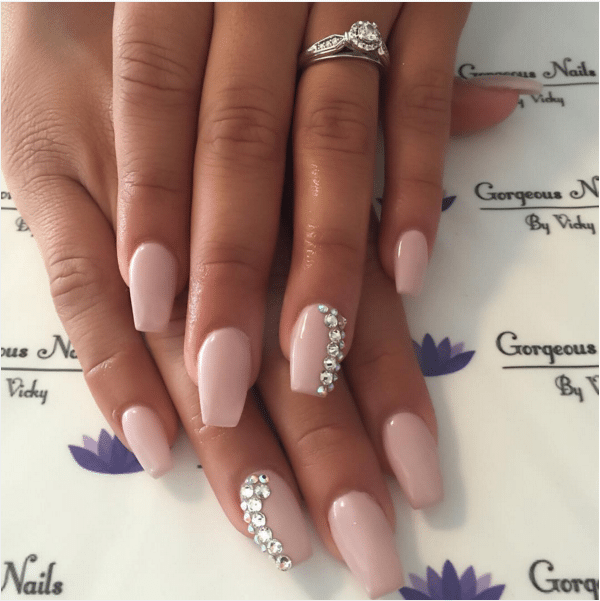 diamond embellished nude nail art bmodish