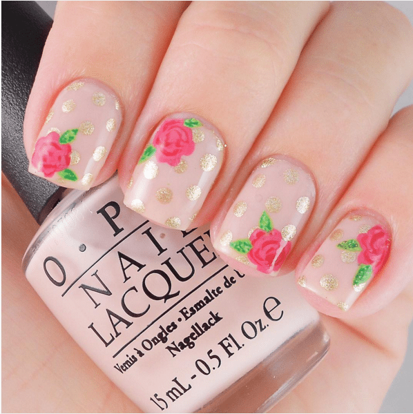 floral and polka dot nude color nails bmodish
