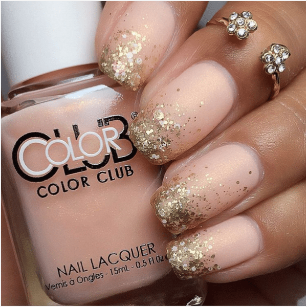 glitter gradient nude color nail design bmodish