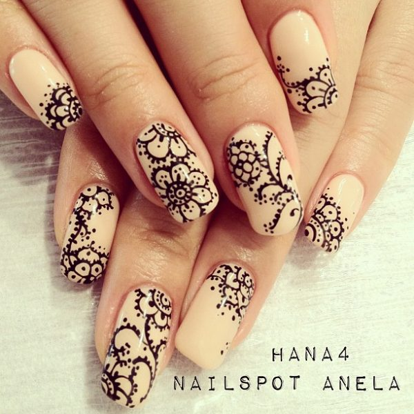 neutral color floral nail art bmodish