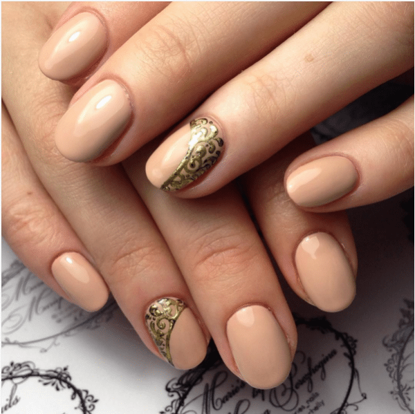 nude and gold nail design bmodish