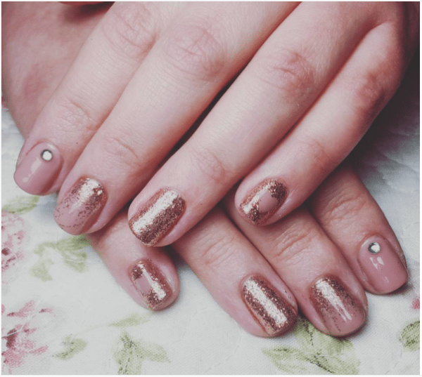 nude glitter nails bmodish