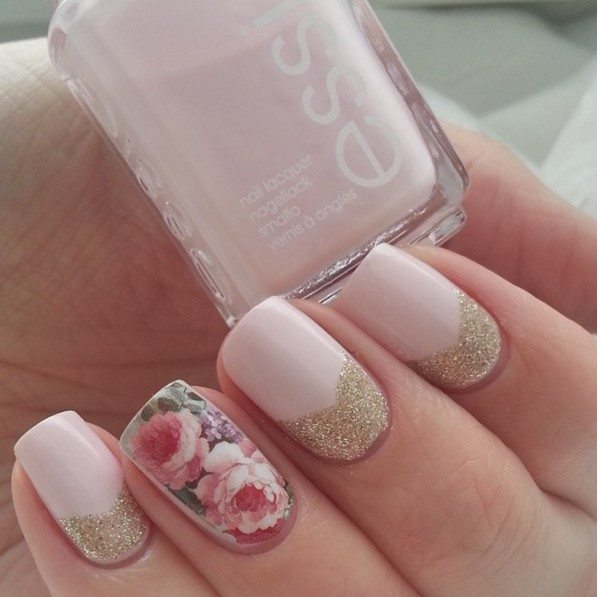 nude color nails with vintage floral bmodish