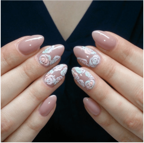 nude nails with 3d flowers design bmodish