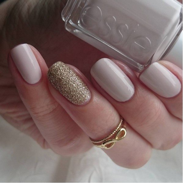 nude nail art with gold accents nail art bmodish