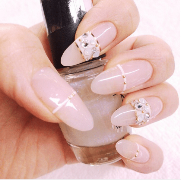 long embellished nude nail design bmodish