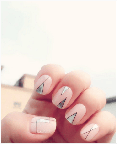 simple geometric nude nail art design bmodish
