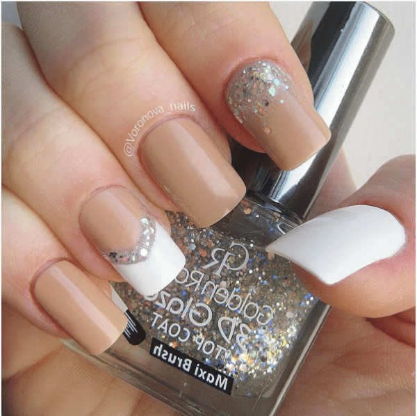 white and nude nail design bmodish
