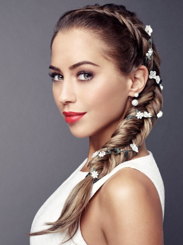 fishtail wedding hairstyle with flower bmodish