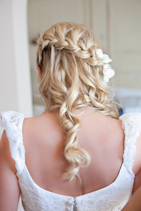 Loose-waterfall braided wedding hairstyle bmodish