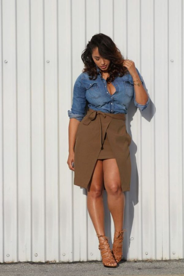 khaki skirt plus size and denim shirt bmodish