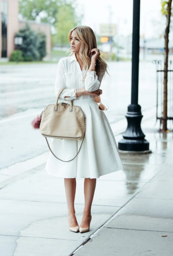 all white outfit feminin spring style bmodish